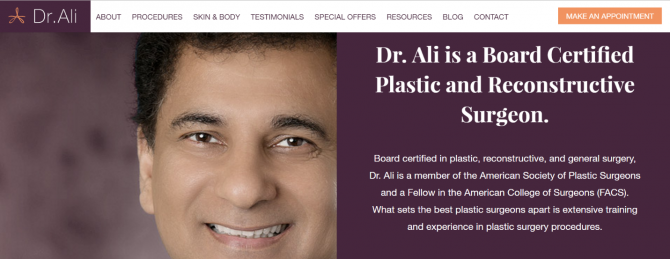 Dr. Ali's home page screen shot