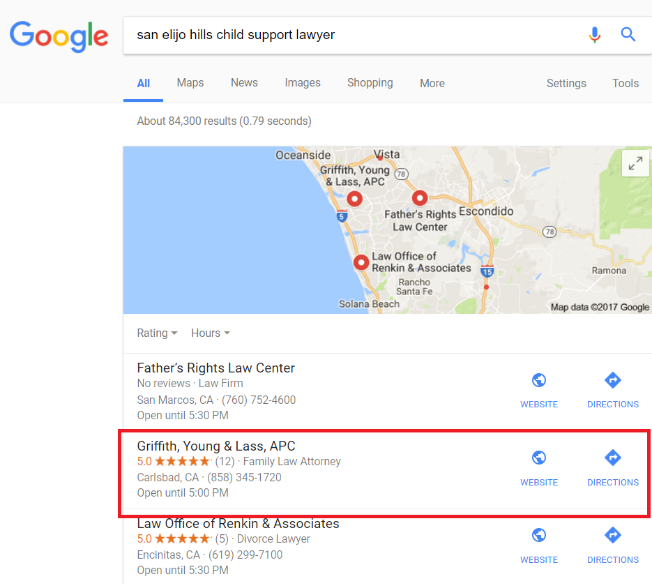 Google Local Results for John Griffith