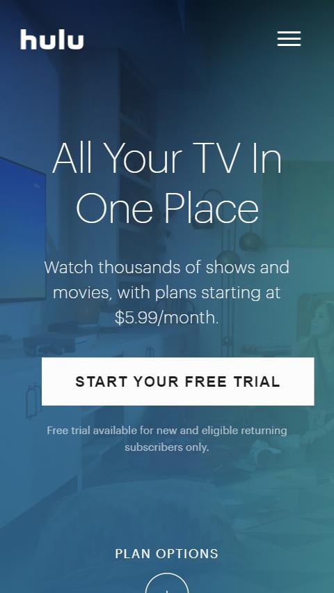 Hulu Mobile Home Page