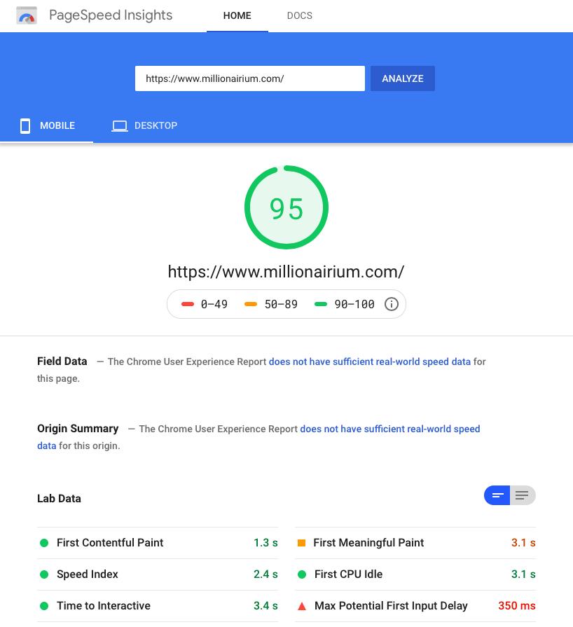 Google Site Speed - www.millionairium.com