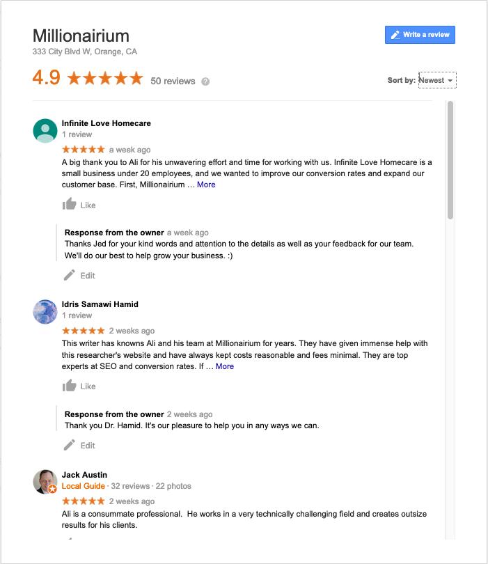 Google Reviews - www.millionairium.com