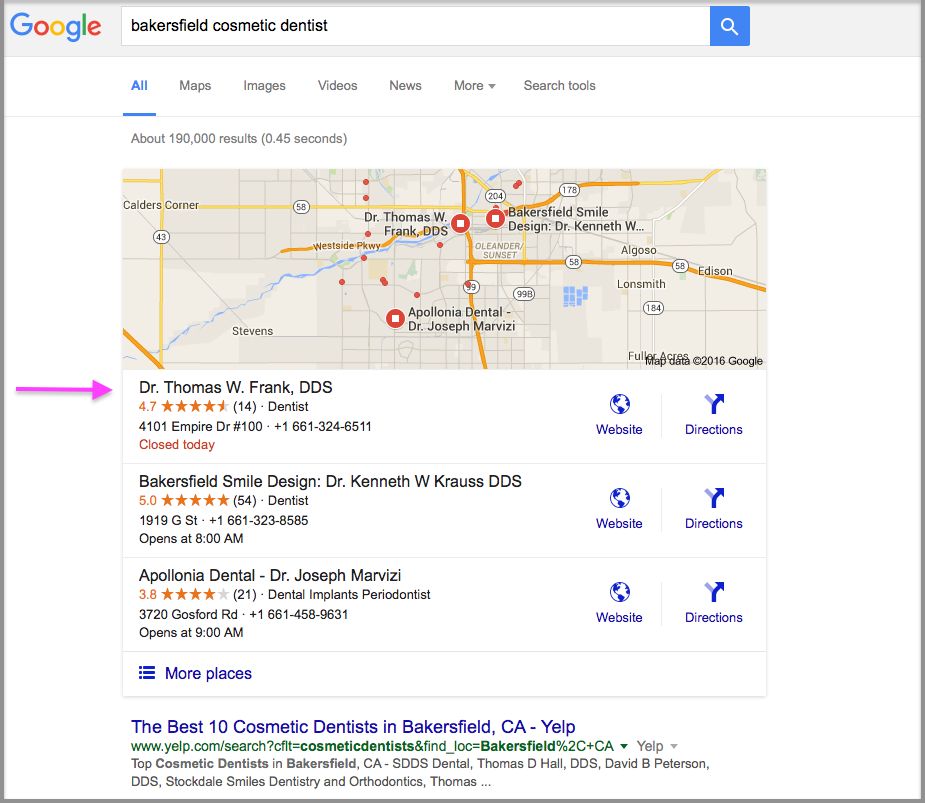 Google Rankings Bakersfield Cosmetic Dentist