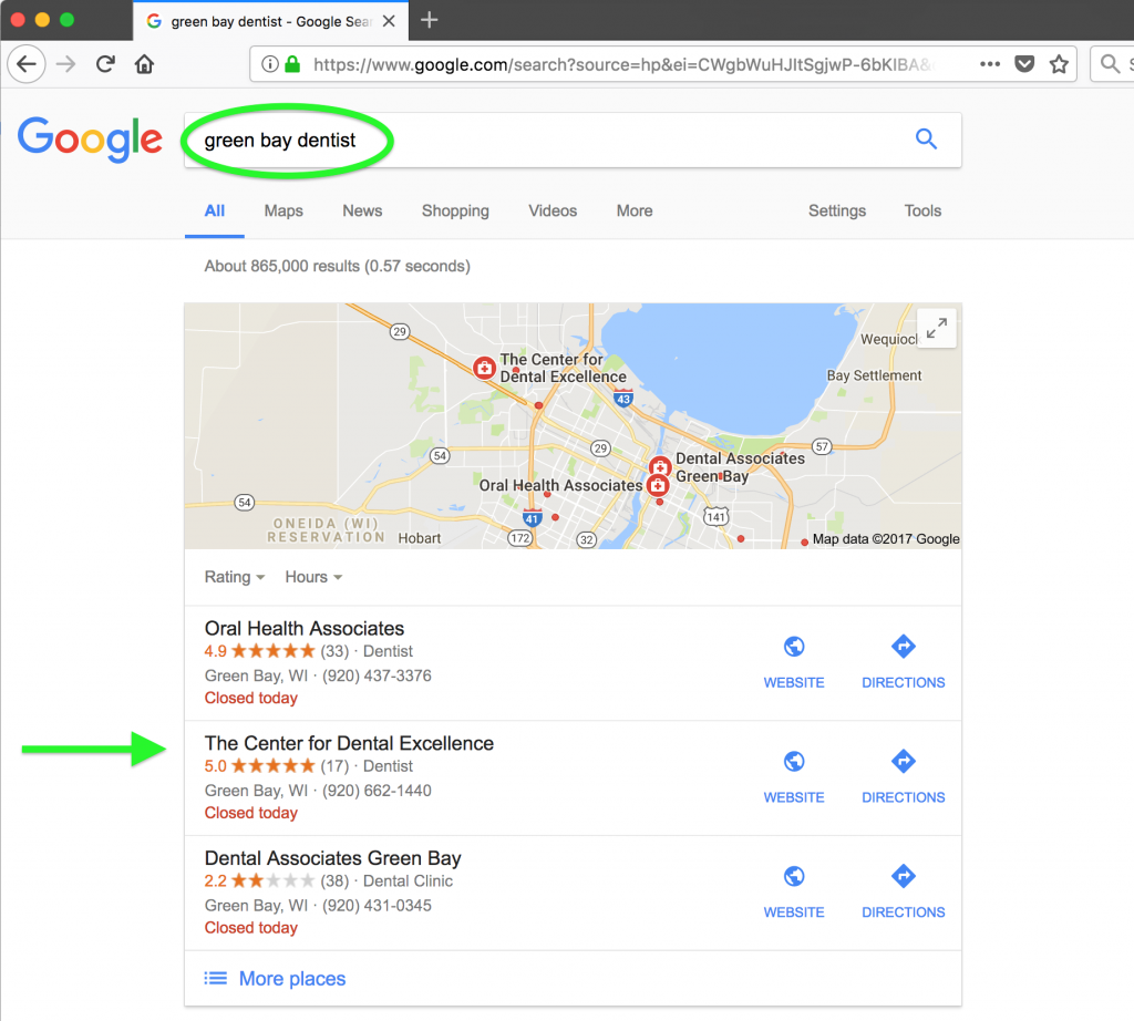 Google Local Ranking For Dr. Brusky in Howard